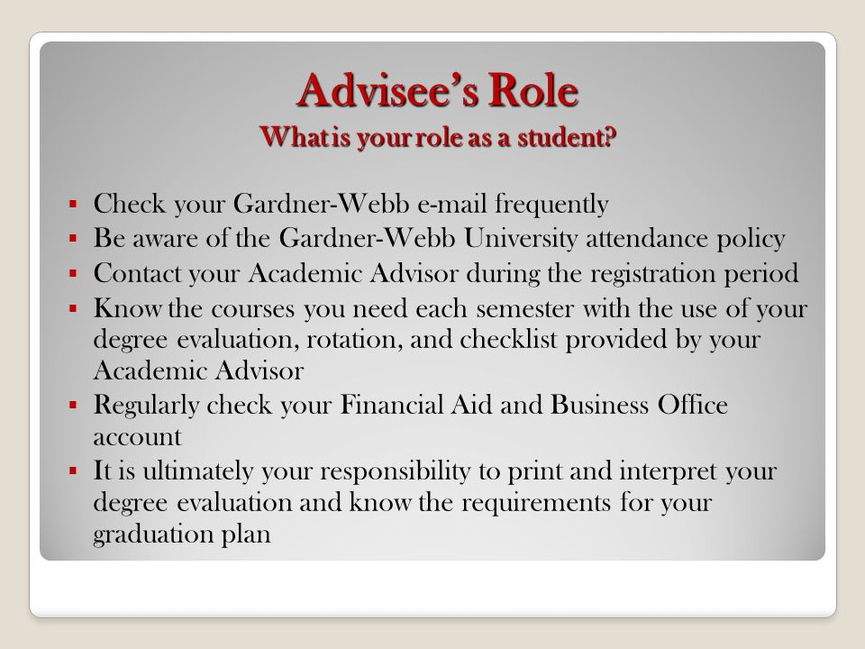 6/5/2014 New Student Orientation - Gardner-Webb University View final grades, academic transcript, and print a degree evaluation.