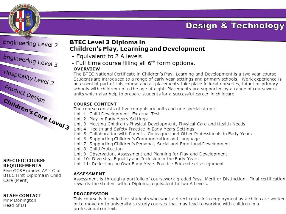 Engineering Level 2 Engineering Level 3 Hospitality Level 3 Product Design BTEC Level 3 Diploma in Children's Play, Learning and Development - Equival