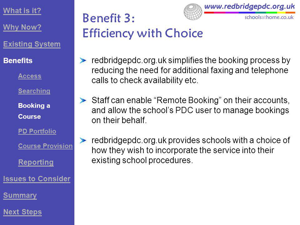 redbridgepdc.org.uk simplifies the booking process by reducing the need for additional faxing and telephone calls to check availability etc.