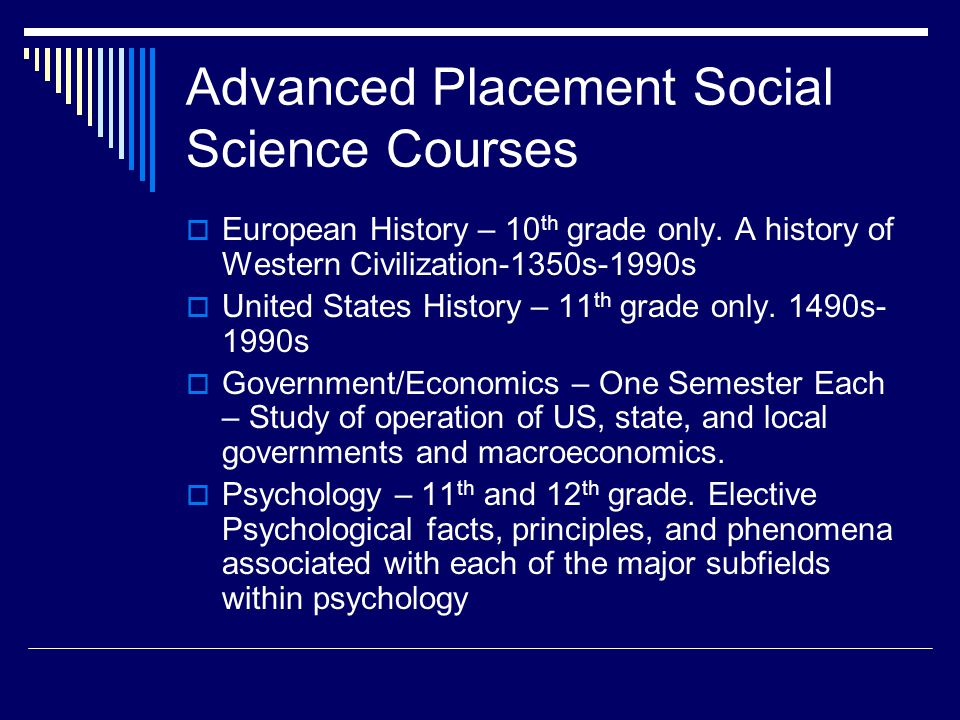 Advanced Placement Social Science Courses European History – 10 th grade only.
