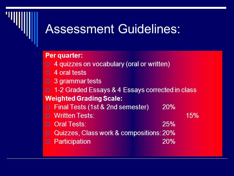 Assessment Guidelines: Per quarter: 4 quizzes on vocabulary (oral or written) 4 oral tests 3 grammar tests 1-2 Graded Essays & 4 Essays corrected in class Weighted Grading Scale: Final Tests (1st & 2nd semester) 20% Written Tests:15% Oral Tests:25% Quizzes, Class work & compositions:20% Participation 20%