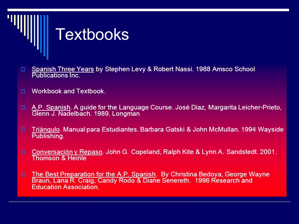 Textbooks Spanish Three Years by Stephen Levy & Robert Nassi.