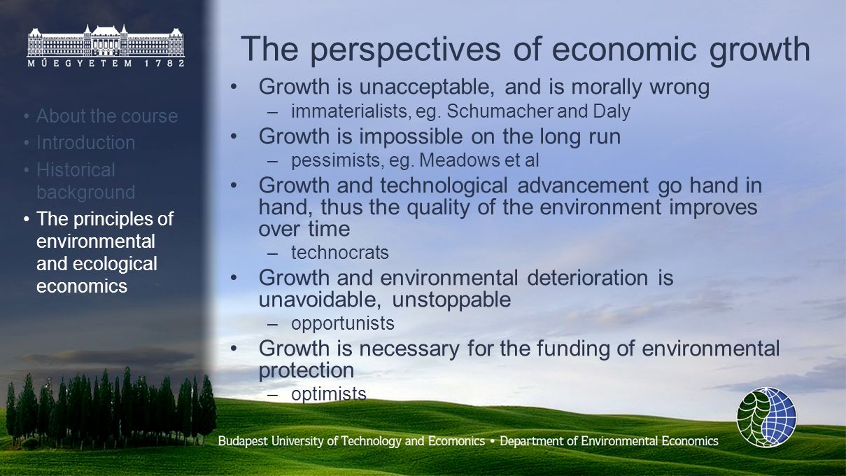 The perspectives of economic growth Growth is unacceptable, and is morally wrong –immaterialists, eg.