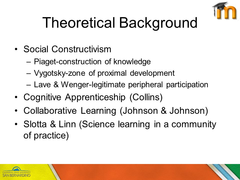 Theoretical Background Social Constructivism –Piaget-construction of knowledge –Vygotsky-zone of proximal development –Lave & Wenger-legitimate peripheral participation Cognitive Apprenticeship (Collins) Collaborative Learning (Johnson & Johnson) Slotta & Linn (Science learning in a community of practice)