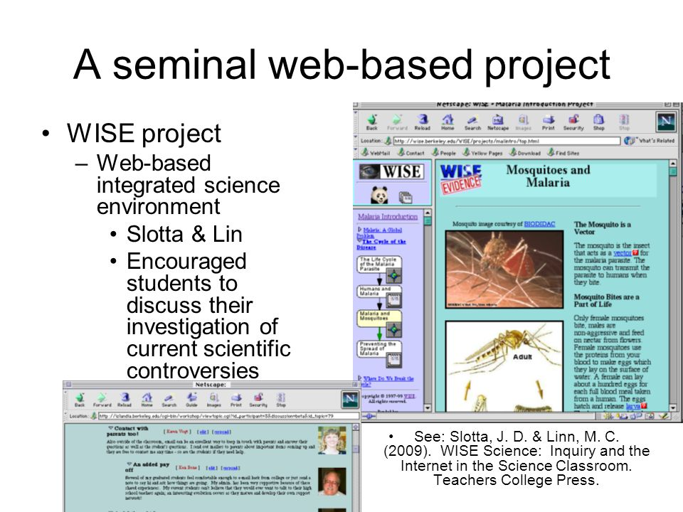 A seminal web-based project WISE project –Web-based integrated science environment Slotta & Lin Encouraged students to discuss their investigation of current scientific controversies See: Slotta, J.