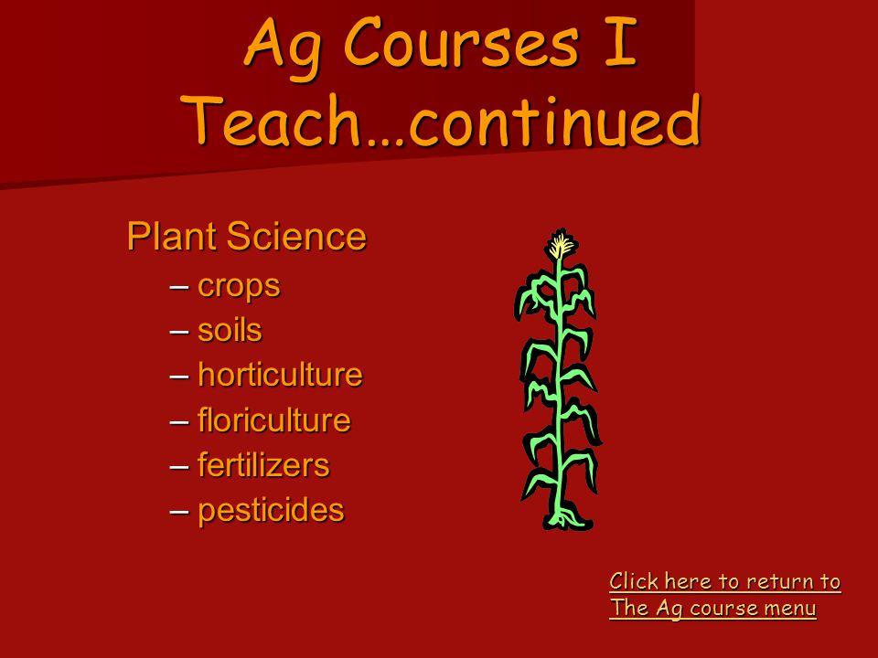 Ag Courses I Teach…continued Animal Science –livestock and companion animal nutrition/feeding nutrition/feeding health health reproduction reproductio