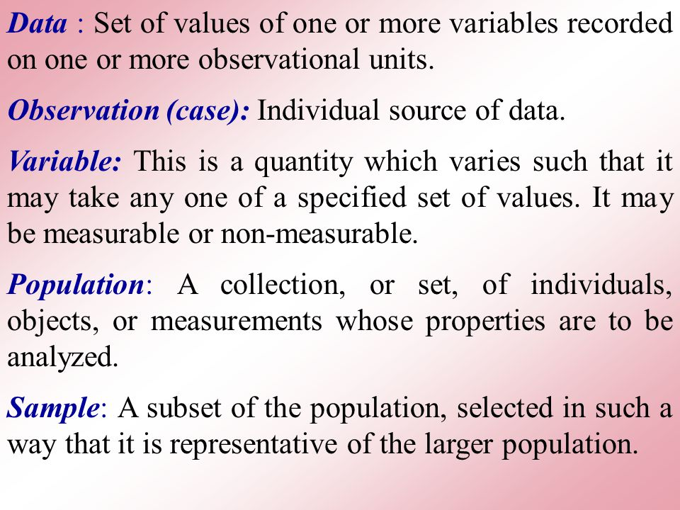 Data : Set of values of one or more variables recorded on one or more observational units.
