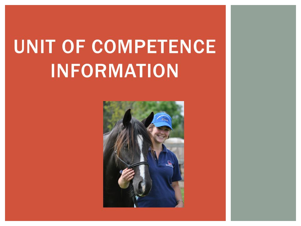 UNIT OF COMPETENCE INFORMATION