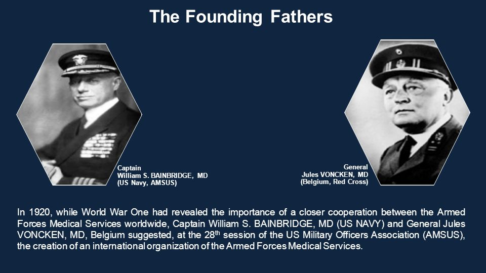 In 1920, while World War One had revealed the importance of a closer cooperation between the Armed Forces Medical Services worldwide, Captain William S.
