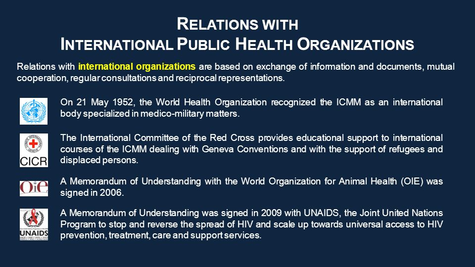 R ELATIONS WITH I NTERNATIONAL P UBLIC H EALTH O RGANIZATIONS Relations with international organizations are based on exchange of information and documents, mutual cooperation, regular consultations and reciprocal representations.