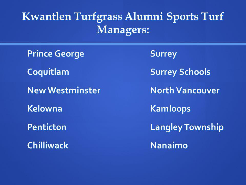 Kwantlen Turfgrass Alumni Sports Turf Managers: Prince GeorgeSurrey CoquitlamSurrey Schools New WestminsterNorth Vancouver KelownaKamloops PentictonLangley Township ChilliwackNanaimo
