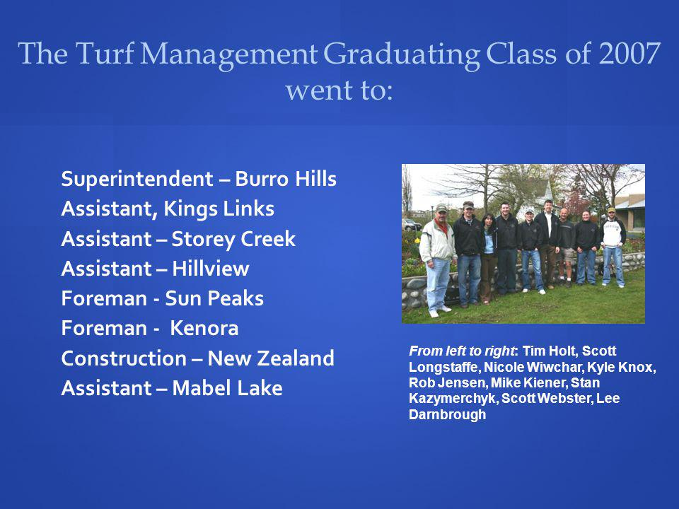 The Turf Management Graduating Class of 2007 went to: Superintendent – Burro Hills Assistant, Kings Links Assistant – Storey Creek Assistant – Hillvie