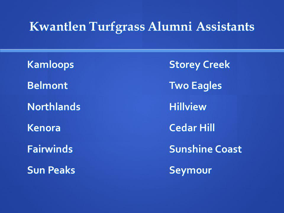 Kwantlen Turfgrass Alumni Assistants KamloopsStorey Creek BelmontTwo Eagles NorthlandsHillview KenoraCedar Hill FairwindsSunshine Coast Sun PeaksSeymo