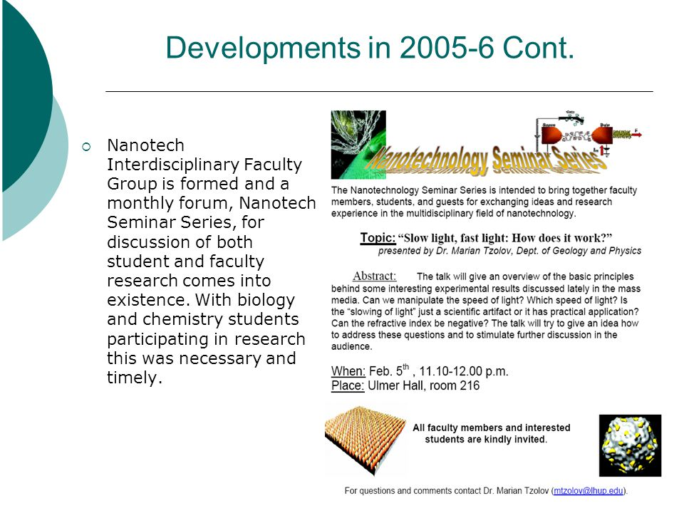 Developments in 2005-6 Cont.
