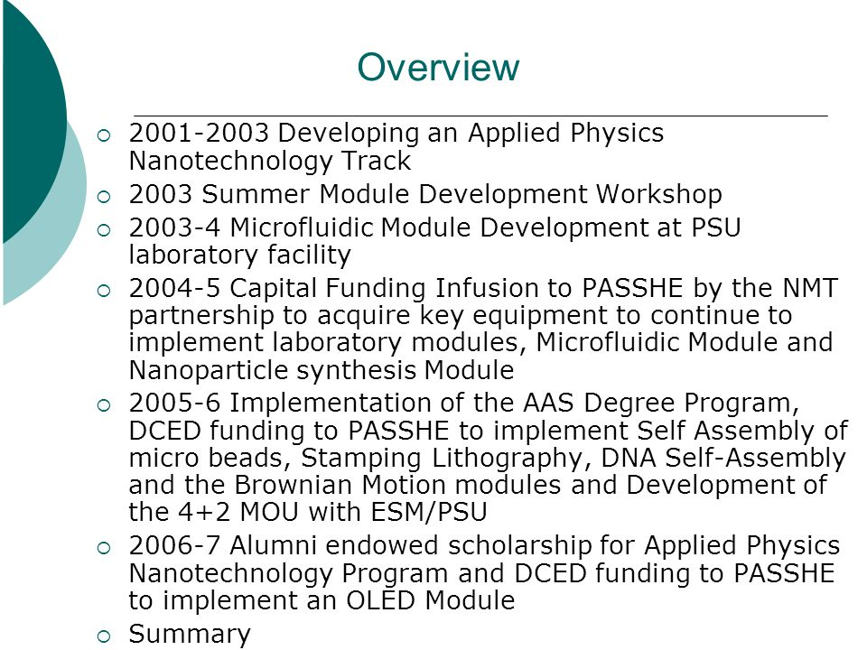 2001-2003 Developing an Applied Physics Nanotechnology Track Lock Haven University joins the PACAN and NMT Partnership Aggressively push the 18 credit NMT semester course through curriculum process and develop the Applied Physics (Nanotechnology) Track within the BS Physics Degree Started writing proposals to NSF that forced us to think about what we had to do for the full implementation of the track Recognized the need for further laboratory based courses in Nanotechnology and the need for student research that allowed application of the techniques to real world problems