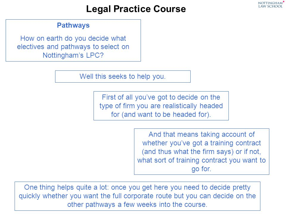 Legal Practice Course Pathways How on earth do you decide what electives and pathways to select on Nottinghams LPC? Well this seeks to help you. First