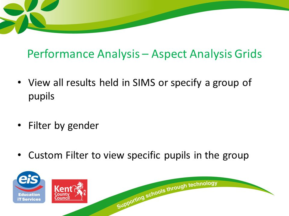 Performance Analysis – Aspect Analysis Grids View all results held in SIMS or specify a group of pupils Filter by gender Custom Filter to view specific pupils in the group