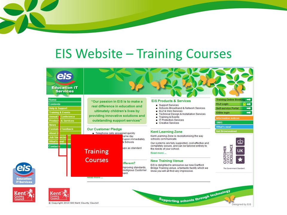 EIS Website – Training Courses Training Courses