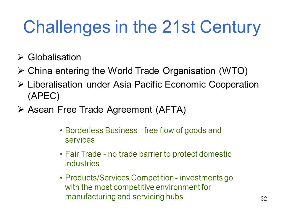 32 Challenges in the 21st Century Globalisation China entering the World Trade Organisation (WTO) Liberalisation under Asia Pacific Economic Cooperati