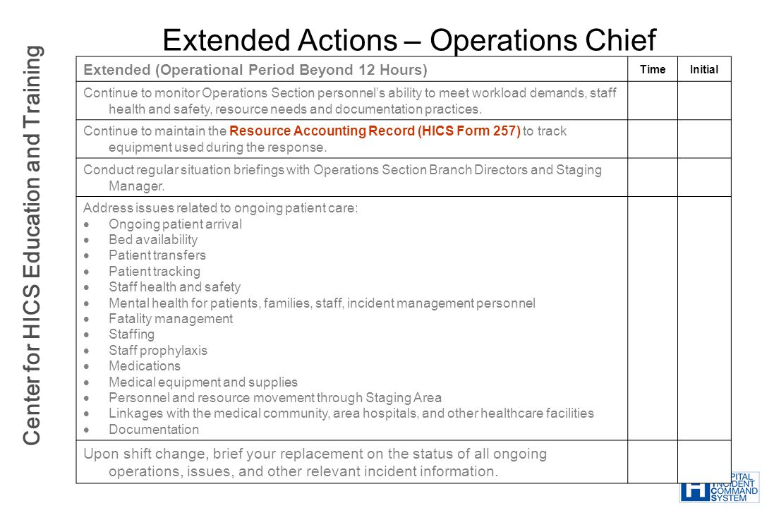Center for HICS Education and Training Extended Actions – Operations Chief Extended (Operational Period Beyond 12 Hours) TimeInitial Continue to monit