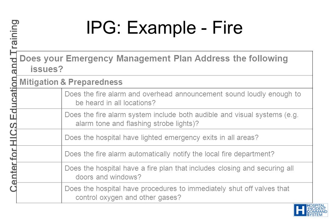 Center for HICS Education and Training IPG: Example - Fire Does your Emergency Management Plan Address the following issues? Mitigation & Preparedness