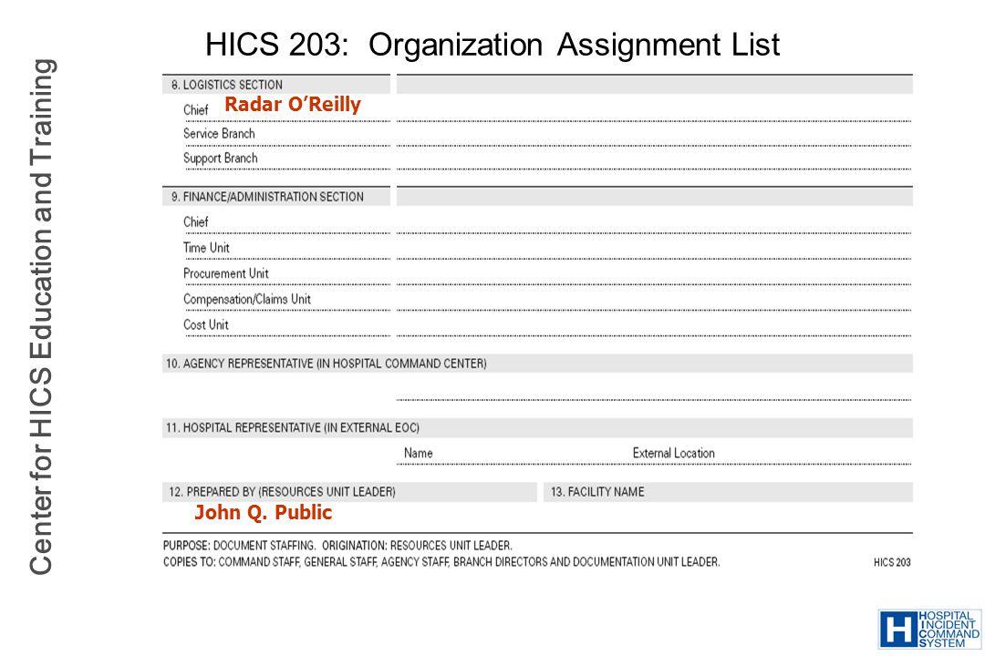 Center for HICS Education and Training HICS 203: Organization Assignment List Radar OReilly John Q. Public