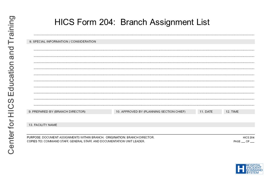 Center for HICS Education and Training HICS Form 204: Branch Assignment List