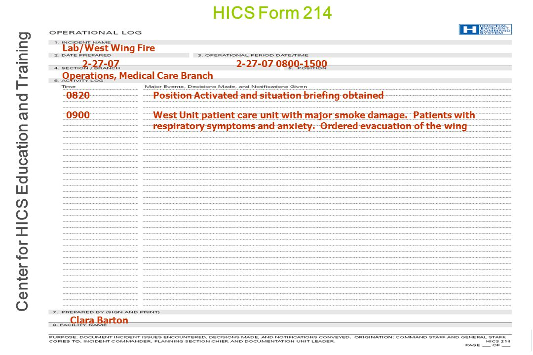 Center for HICS Education and Training HICS Form 214 2-27-07 0800-15002-27-07 Lab/West Wing Fire Operations, Medical Care Branch 0820Position Activate