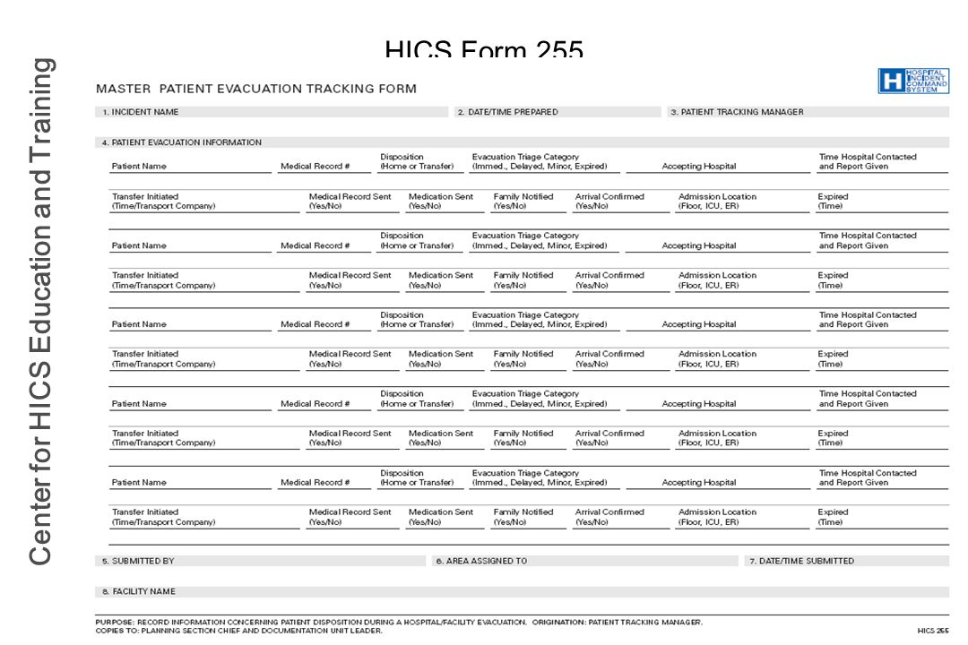 Center for HICS Education and Training HICS Form 255