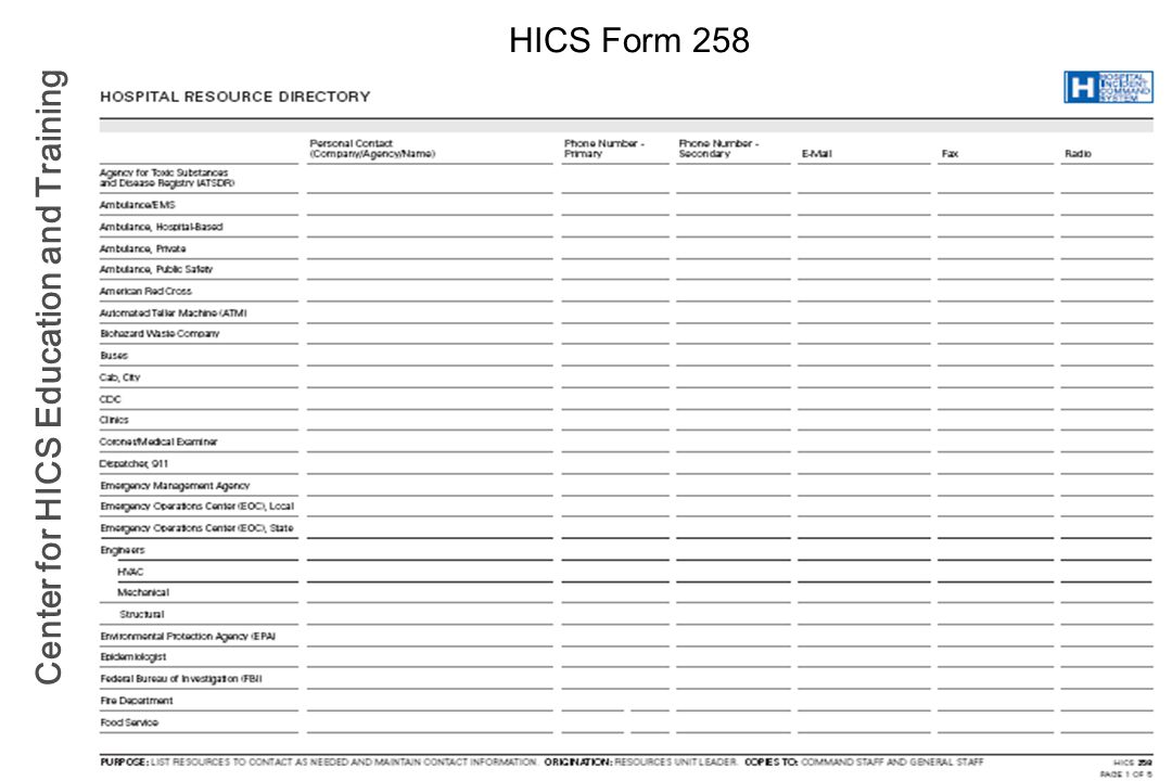 Center for HICS Education and Training HICS Form 258