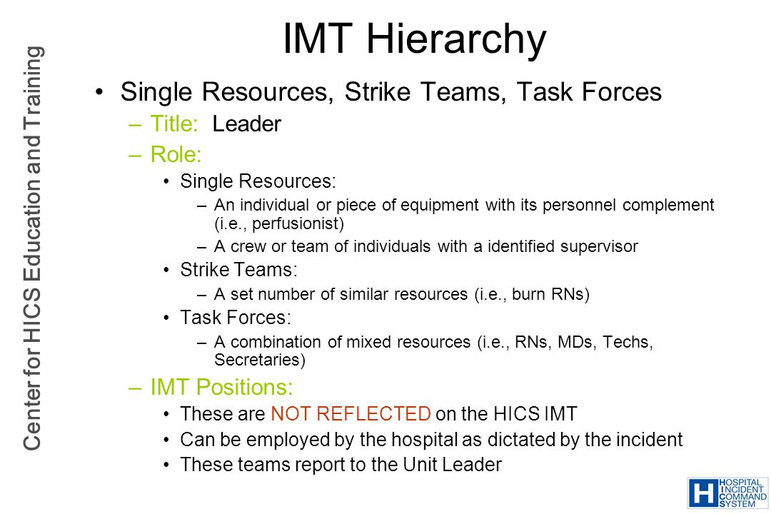 Center for HICS Education and Training IMT Hierarchy Single Resources, Strike Teams, Task Forces –Title: Leader –Role: Single Resources: –An individua