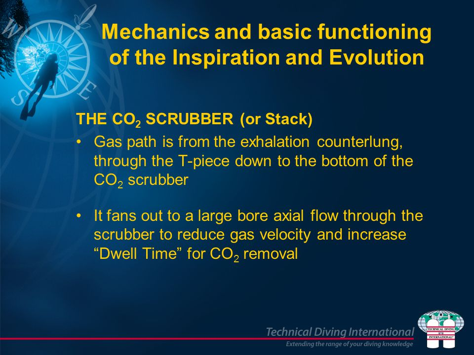 Mechanics and basic functioning of the Inspiration and Evolution THE CO 2 SCRUBBER (or Stack) Gas path is from the exhalation counterlung, through the