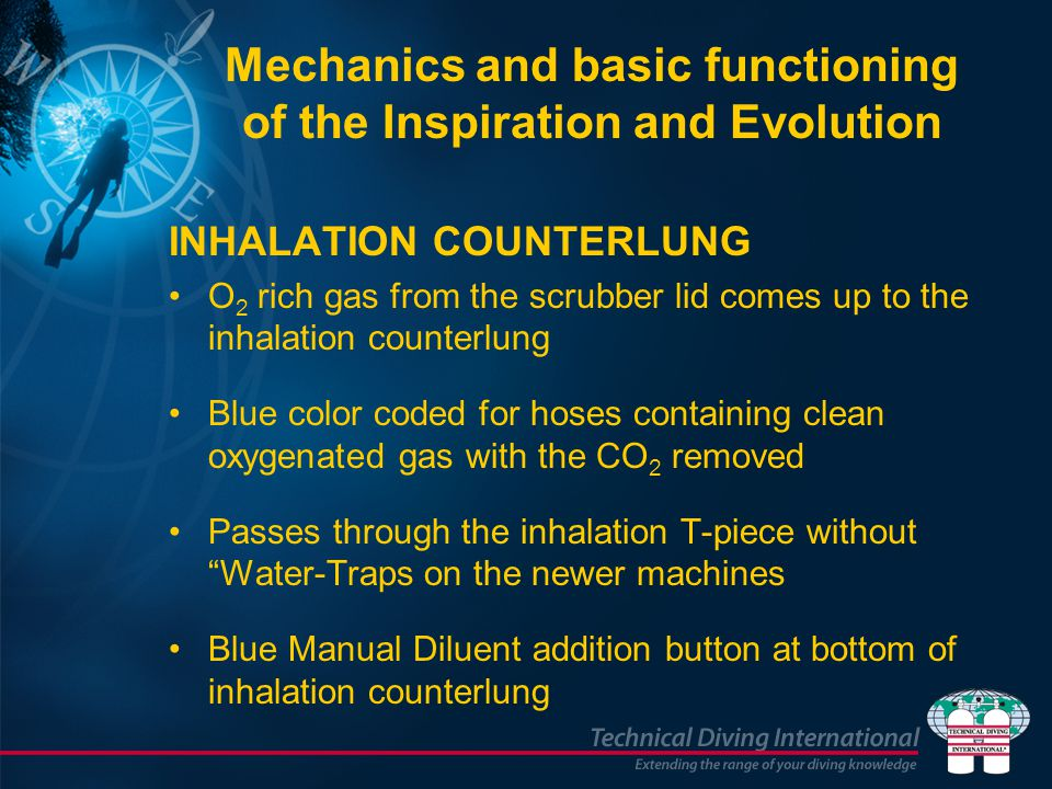 INHALATION COUNTERLUNG O 2 rich gas from the scrubber lid comes up to the inhalation counterlung Blue color coded for hoses containing clean oxygenate