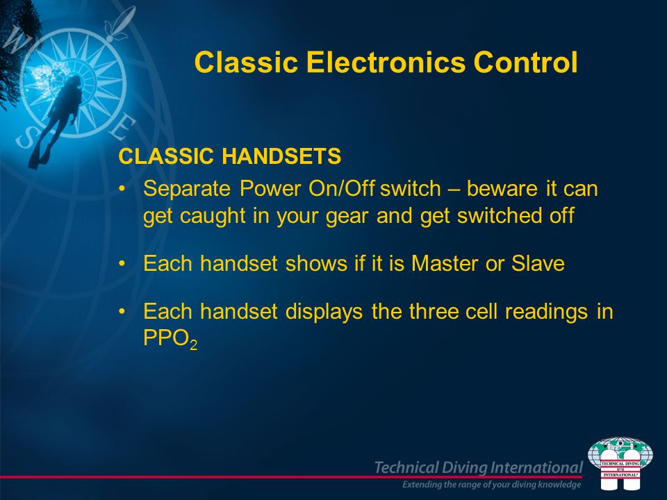 CLASSIC HANDSETS Separate Power On/Off switch – beware it can get caught in your gear and get switched off Each handset shows if it is Master or Slave