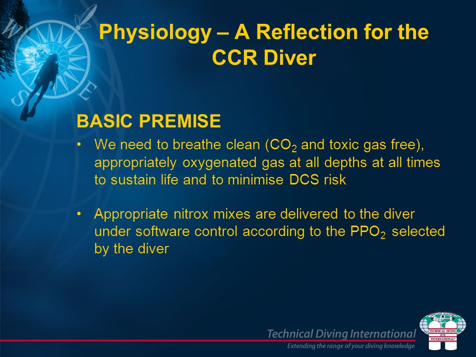 Physiology – A Reflection for the CCR Diver BASIC PREMISE We need to breathe clean (CO 2 and toxic gas free), appropriately oxygenated gas at all dept