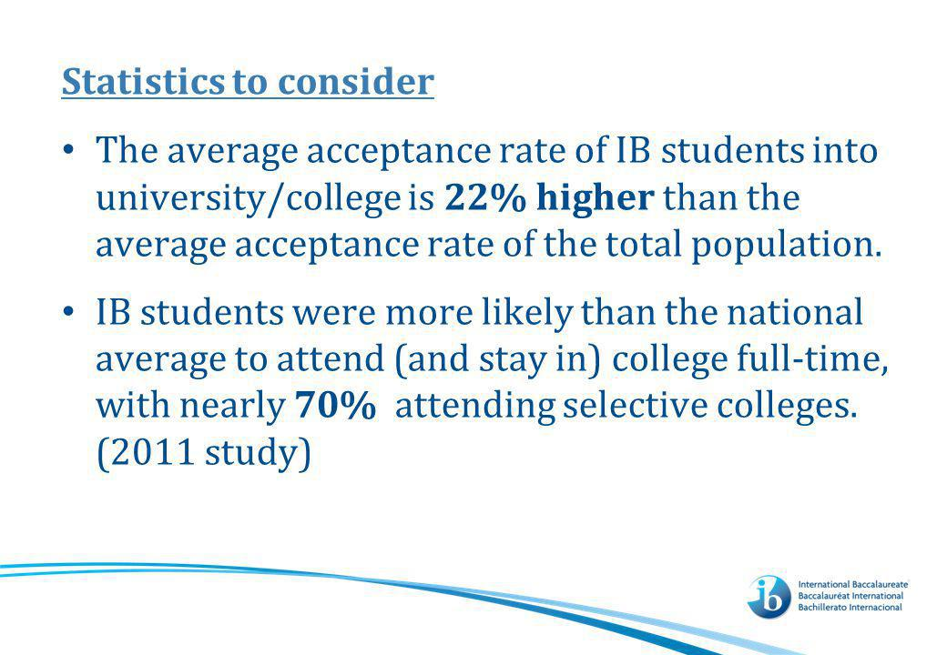 Statistics to consider The average acceptance rate of IB students into university/college is 22% higher than the average acceptance rate of the total