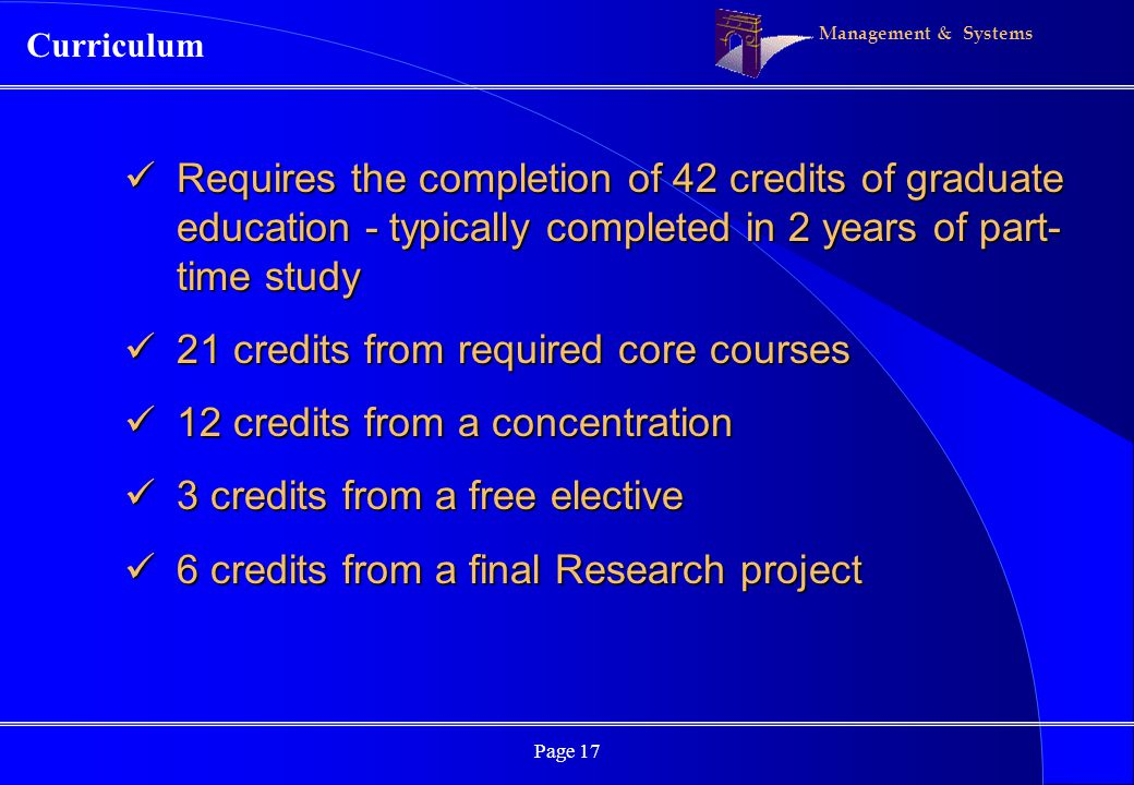 Management & Systems Page 17 Requires the completion of 42 credits of graduate education - typically completed in 2 years of part- time study Requires
