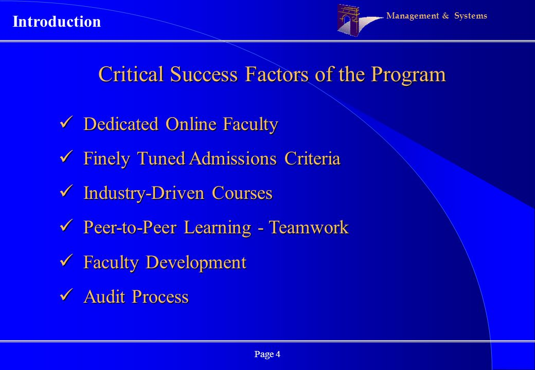 Management & Systems Page 4 Critical Success Factors of the Program Dedicated Online Faculty Dedicated Online Faculty Finely Tuned Admissions Criteria