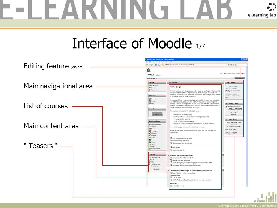 Interface of Moodle 1/7 Editing feature (on/off) Main navigational area List of courses Main content area Teasers