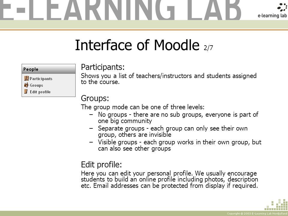 Interface of Moodle 2/7 Participants: Shows you a list of teachers/instructors and students assigned to the course.