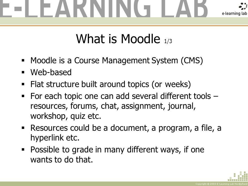 Interface of Moodle 3/7 Activities Shows a list of all the activities in the course.