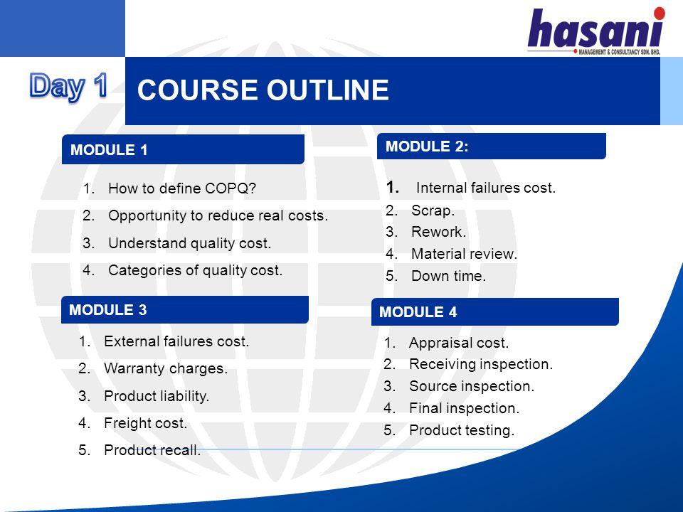 COURSE OUTLINE MODULE 5 MODULE 6 1.Prevention cost.