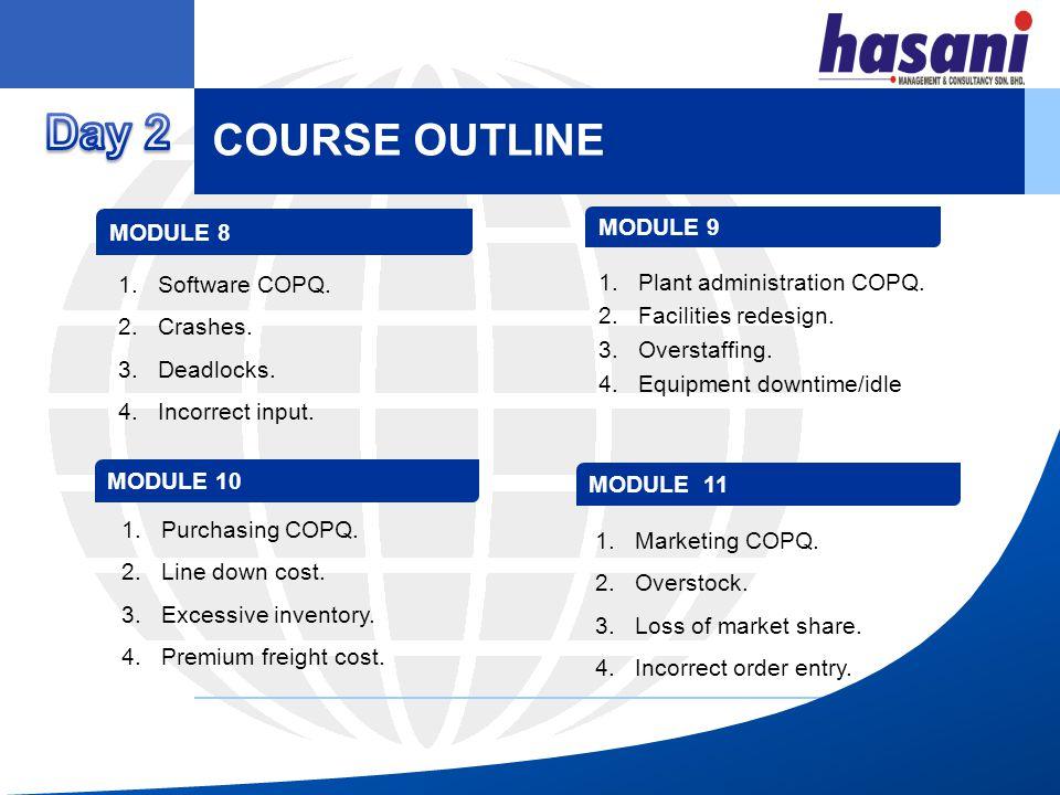 COURSE OUTLINE 1.Industrial engineering COPQ.2.OSHA fine.