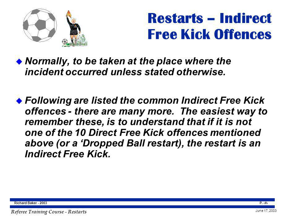 Referee Training Course - Restarts June 17, 2003 P.