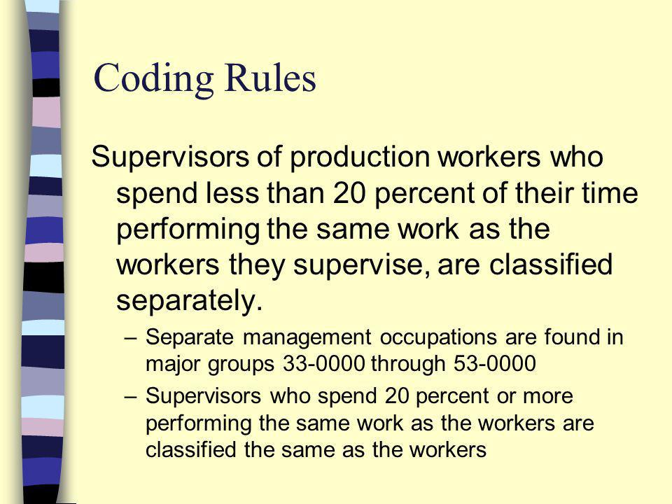 Supervisors of production workers who spend less than 20 percent of their time performing the same work as the workers they supervise, are classified separately.