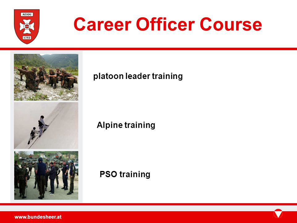 www.bundesheer.at platoon leader training Alpine training PSO training Career Officer Course