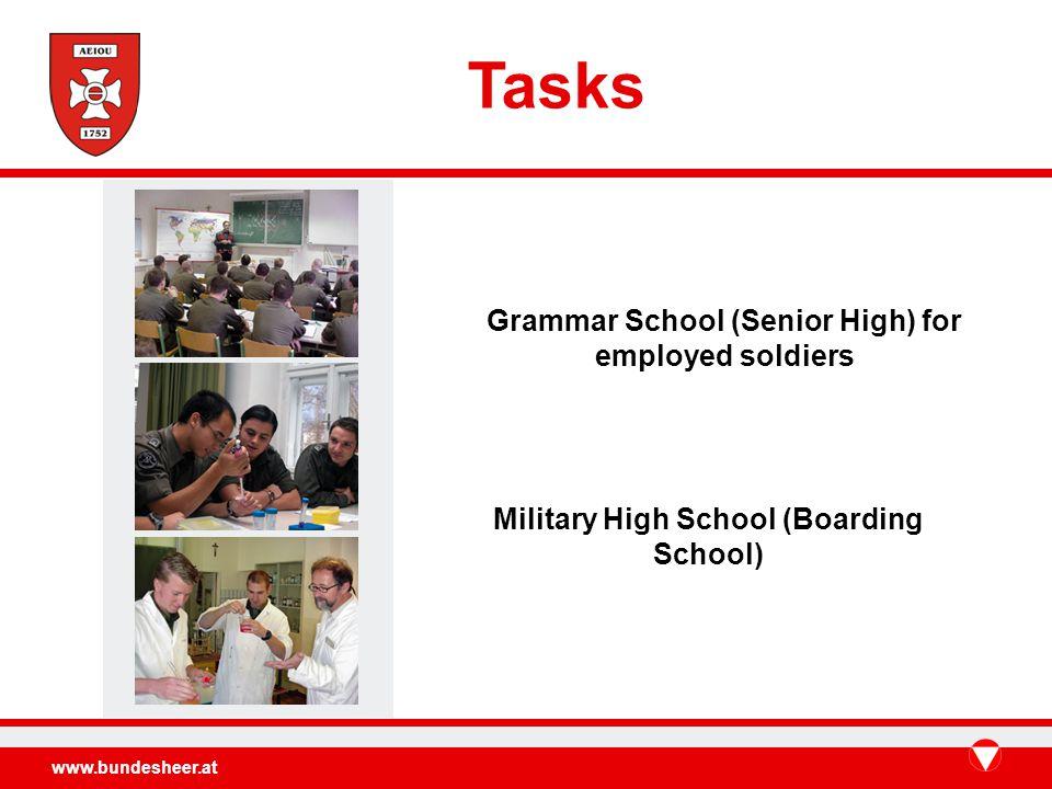 www.bundesheer.at Tasks Grammar School (Senior High) for employed soldiers Military High School (Boarding School)