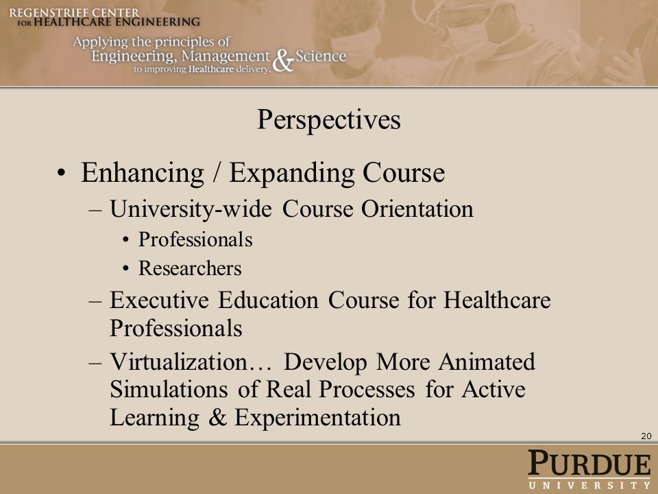 Perspectives Enhancing / Expanding Course –University-wide Course Orientation Professionals Researchers –Executive Education Course for Healthcare Pro