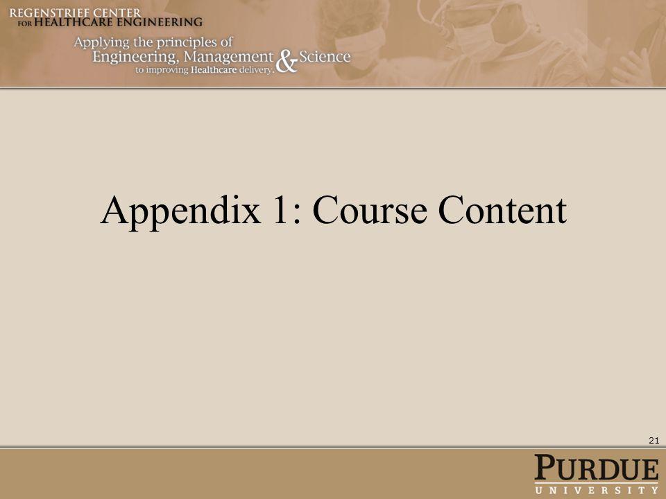 Appendix 1: Course Content 21