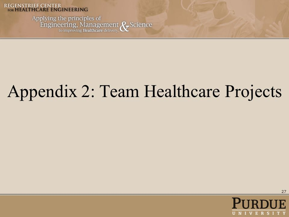 Appendix 2: Team Healthcare Projects 27